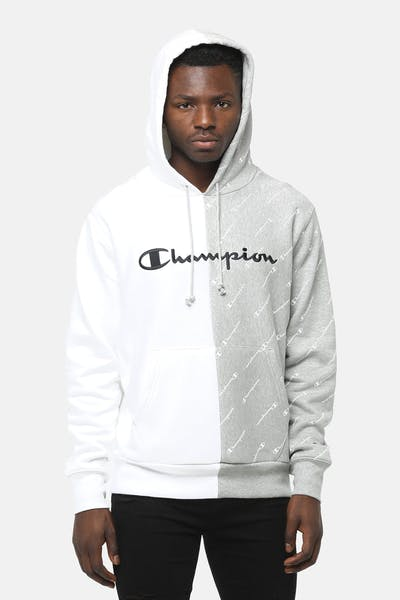 Champion Spliced Reverse Weave Hood 2XR White/Oxford Grey