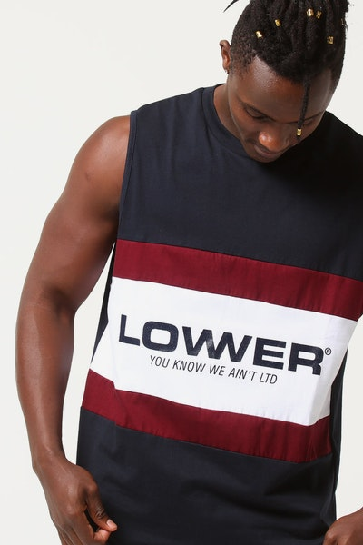Lower Panel Cut Tank Euro Navy/Burgundy