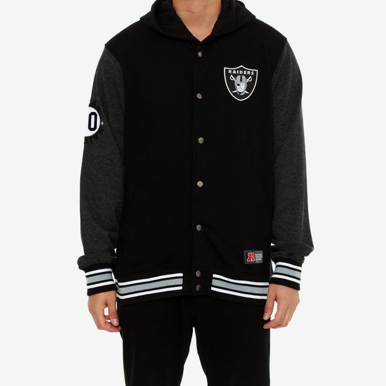34c84db7413 Majestic Athletic Raiders Letterman Fleece Jacket Black – Culture ...