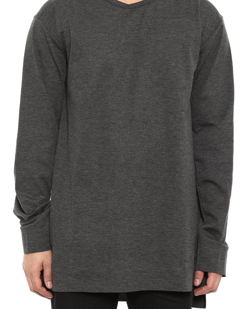 23 Lux Extended Long Sleeve Black Heather/b