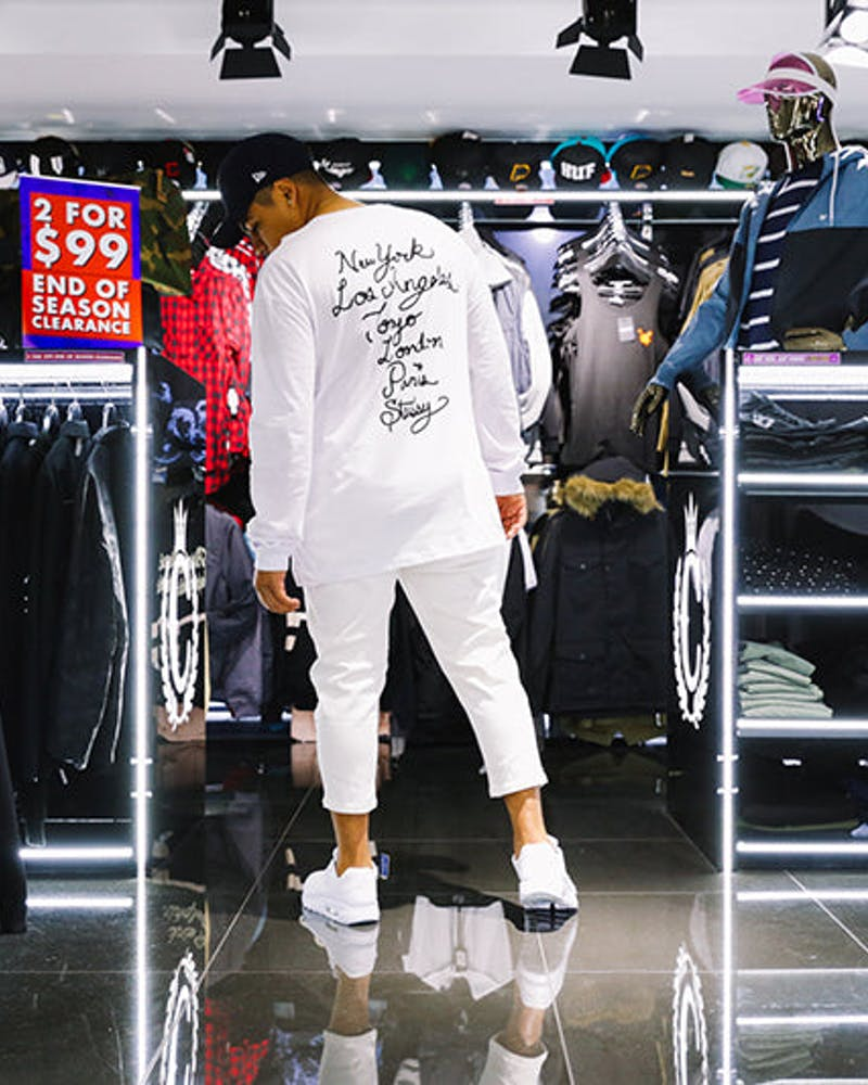 Stussy Cursive Reg Long Sleeve Tee White