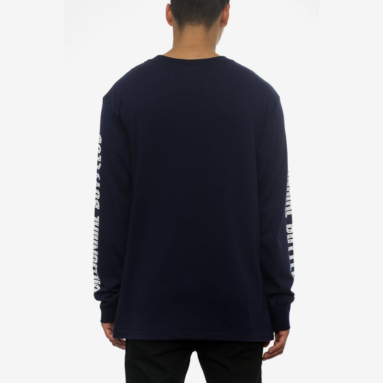 B Logo Long Sleeve Tee Navy/white